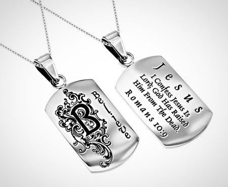 "Stainless Steel Women's Dog Tag ""Believe"" Romans 10:9"