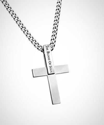 "Stainless Steel Men's brushed Cross Necklace ""The Blood of Jesus"", 1 John 1:9"