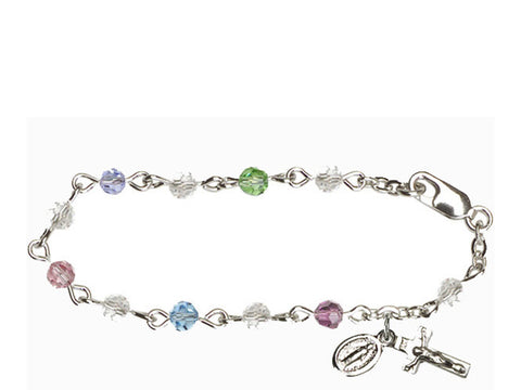 Infant Rosary Bracelet with Multi Color Swarovski Crystals Cross & Medal