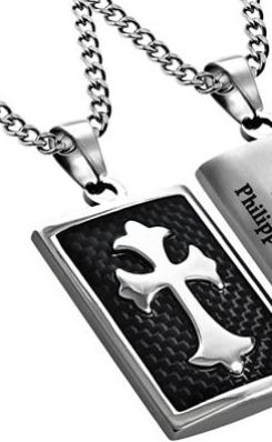 "Deluxe Shield Cross ""His Strength"" Black Carbon Fiber on upgraded chain"