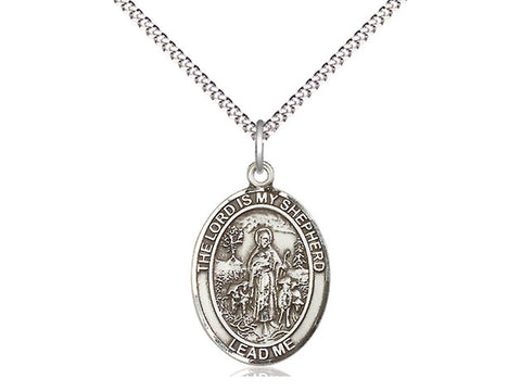 Sterling Silver Lord Is My Shepherd Pendant on a 18 inch Stainless Light Curb Chain