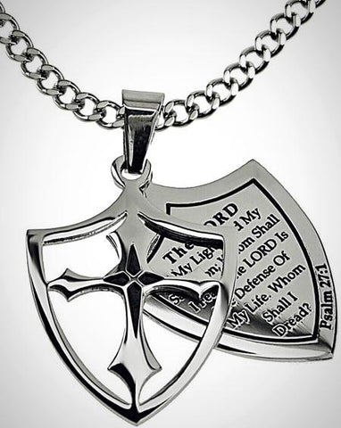 "Stainless Steel Scriptured ""Whom Shall I Fear"" Shield Necklace, Psalm 27:1"