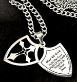 "Stainless Steel Scriptured Shield Necklace ""Man of God"", 1 Timothy 6:16"