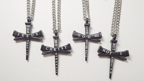 Nail Cross Black Stainless Steel Necklace with doubled sided, Scriptured