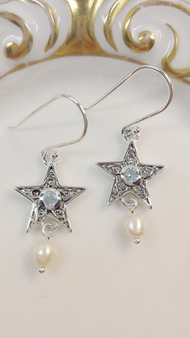 Sterling Silver Norwich Star & Freshwater Pearl Earrings with Blue Topaz