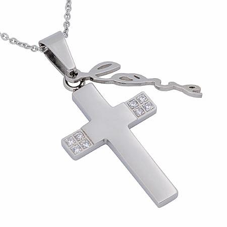 "Stainless Steel & CZ Handwriting Cross Necklace ""Love"", 1 Corinthians 13:4-8"
