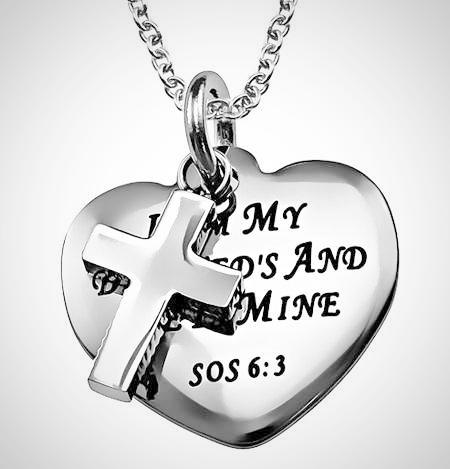 "Stainless Steel Sweetheart Necklace with Cross & Heart ""Beloved"" SOS 6:3"