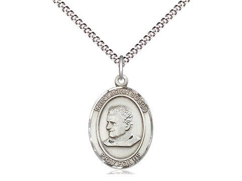 Sterling Silver St John Bosco Pendant on a 18 inch Light Stainless Light Curb Chain