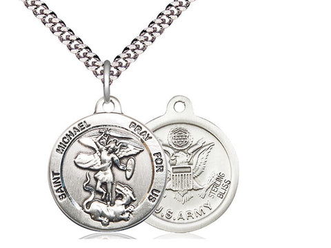 Sterling Silver St Michael Army Pendant on a 24 inch Light Rhodium Heavy Curb Chain
