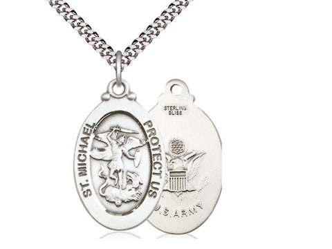 Sterling Silver St Michael Army Pendant on a 24 inch Light Rhodium Heavy Curb Chain.
