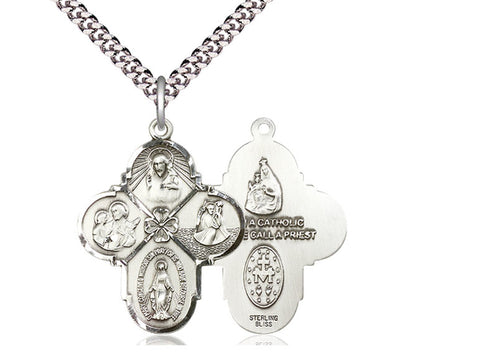 Sterling Silver 4-Way Pendant on a 24 inch Stainless Heavy Curb Chain