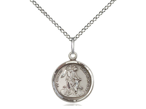 Sterling Silver Guardian Angel Pendant on an 18 inch Sterling Silver Light Curb Chain