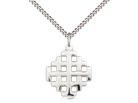 Sterling Silver Jerusalem Cross Pendant on a 24 inch Stainless Light Curb Chain