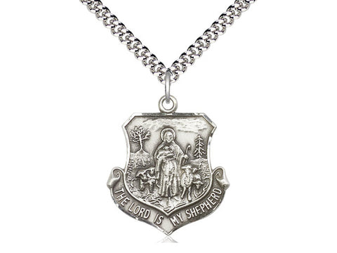 Sterling Silver Lord Is My Shepherd Pendant on a 24 inch Stainless Heavy Curb Chain