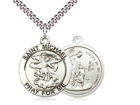 Sterling Silver St. Michael the Archangel on a 24 inch Light Rhodium Heavy Curb Chain