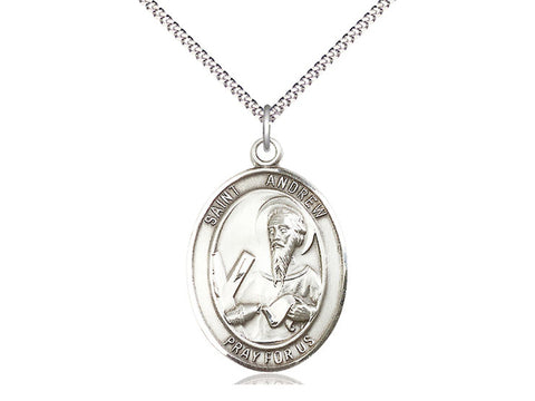 Sterling Silver St Andrew the Apostle Pendant on an 18 inch Stainless Light Curb Chain
