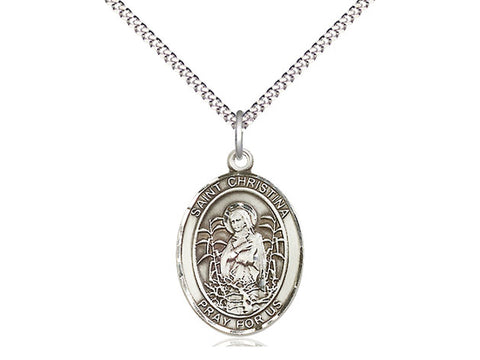 Sterling Silver St Christina the Astonishing Pendant on a 18 inch Stainless Light Curb Chain