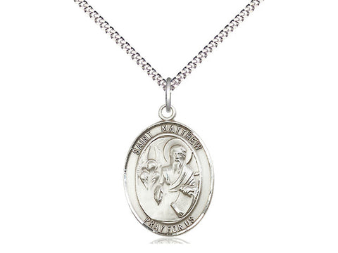 Sterling Silver St Matthew the Apostle Pendant on an 18 inch Rhodium Light Curb Chain