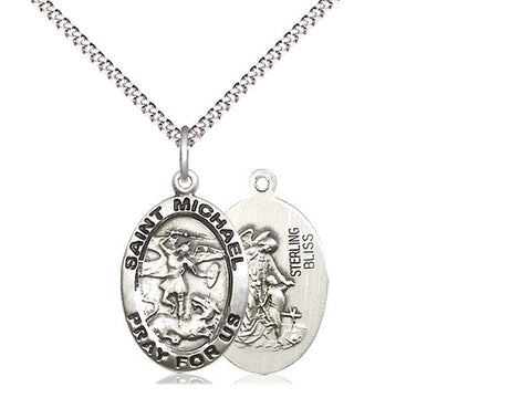 Sterling Silver St Michael Pendant on an 18 inch Stainless Light Curb Chain