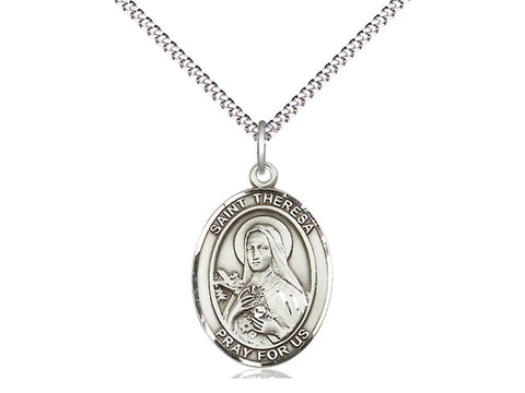 Sterling Silver St Theresa Pendant on an 18 inch Stainless Light Curb Chain