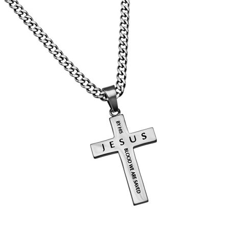 "Truth Cross ""By His Blood"" On Upgraded Chain, Romans 5:9"
