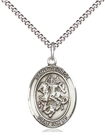 "Sterling Silver St George Pendant on a 18 inch Stainless Light Curb Chain ""Boy Scouts/Soldiers"""