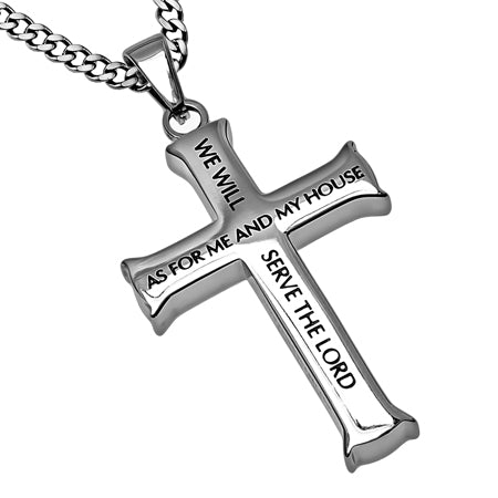 "Men's Iron Cross ""Me and my House"" Joshua 24:15 with Upgraded Chain"