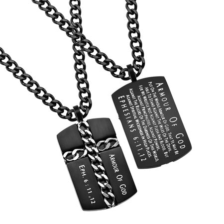 "Black Chain Cross Necklace Dog Tag ""Armor of God"", Ephesians 6:11,12"