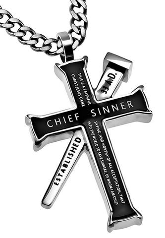"Black Established Cross Necklace ""Chief Sinner"", 1 Timothy 1:15"