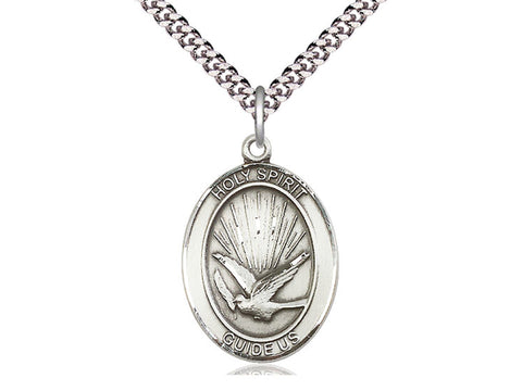 Sterling Silver Holy Spirit Pendant on a 24 inch Light Rhodium Heavy Curb Chain