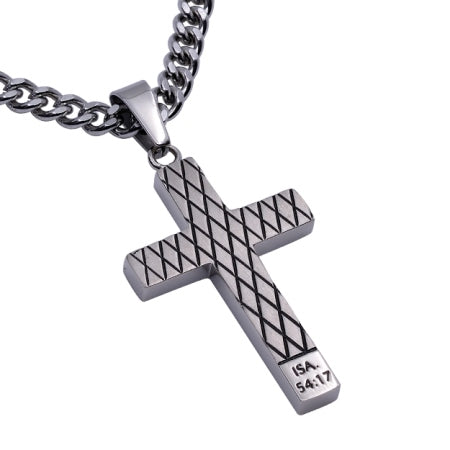 "Diamond Back Men's Cross Necklace ""No Weapon"", Isaiah 54:17"