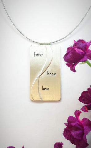 Faith Hope Love Journey Necklace Sterling Silver with Cable Chain