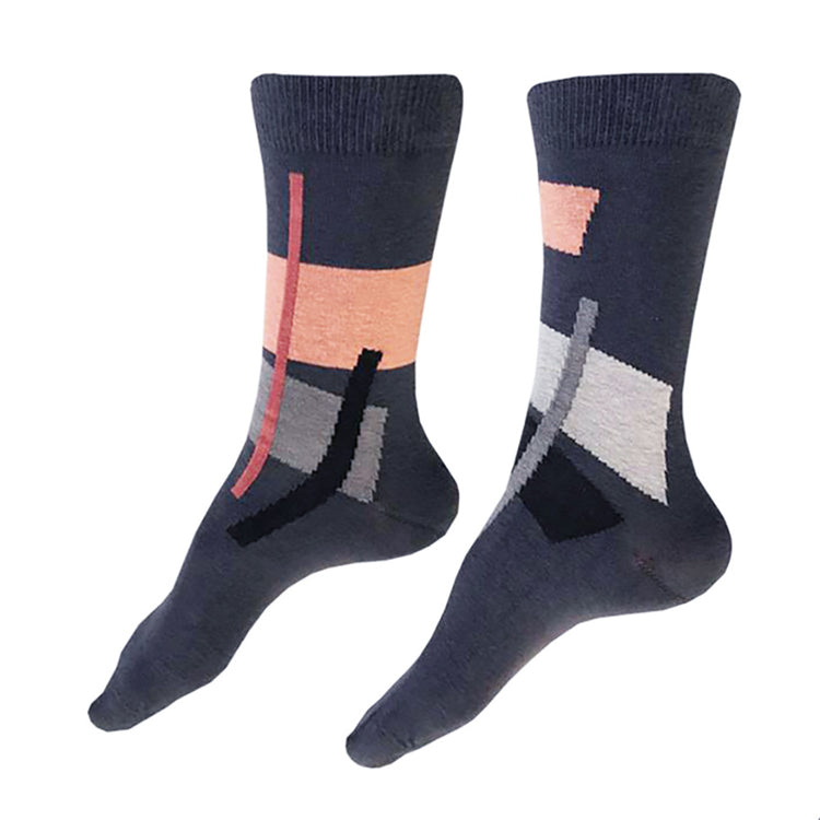 MADE IN USA women's dark grey cotton socks by THIS NIGHT with abstract pattern in salmon, rose, black, grey, and light grey