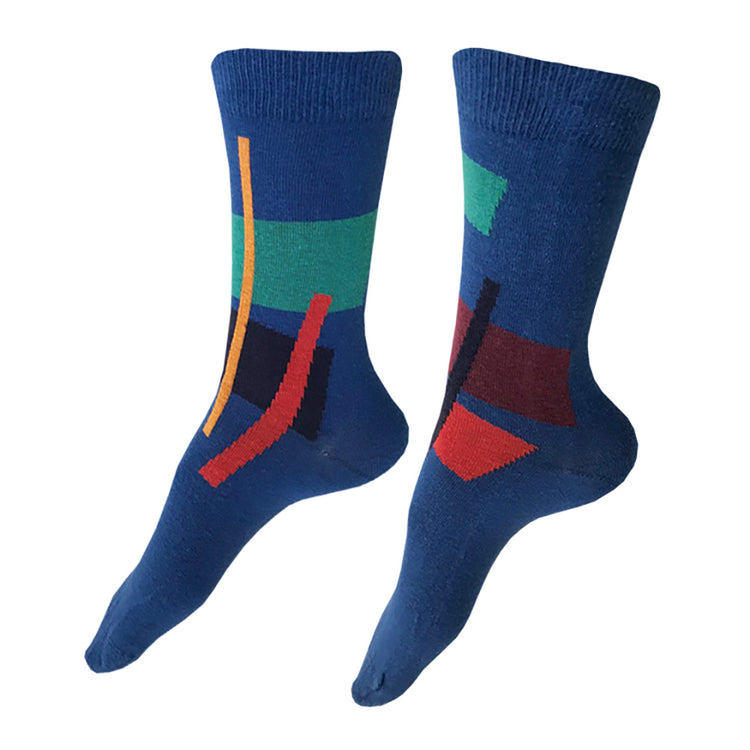 MADE IN USA women's blue cotton socks by THIS NIGHT with abstract geometric pattern in gold, teal, red, navy, and burgundy