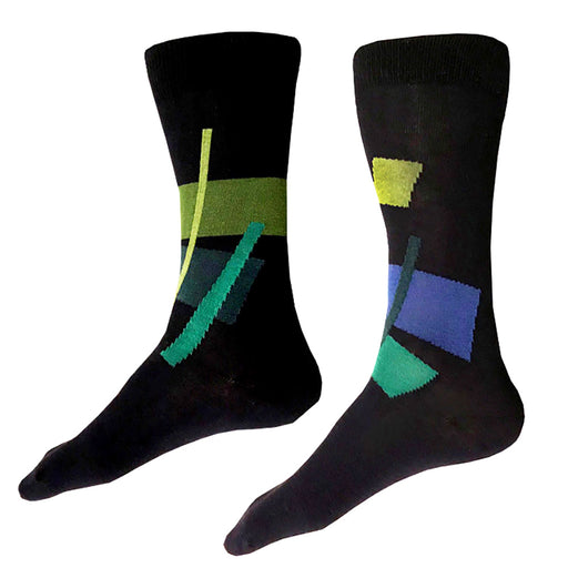 MADE IN USA men's navy cotton socks by THIS NIGHT with abstract pattern in fern green, lighter leaf green, blue, teal, and deep teal
