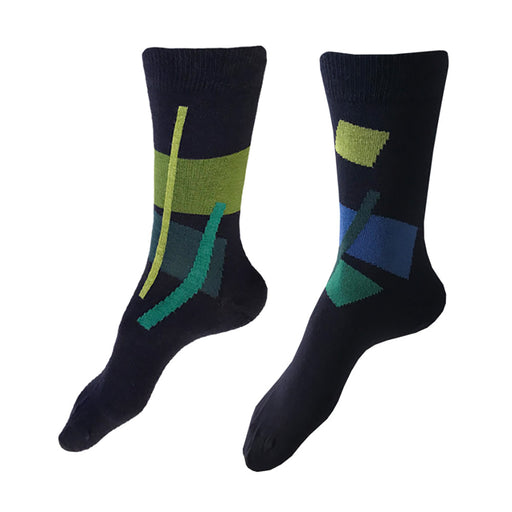 MADE IN USA navy women's cotton socks by THIS NIGHT with abstract geometric pattern in lime green, fern green, teal, deep teal, and blue