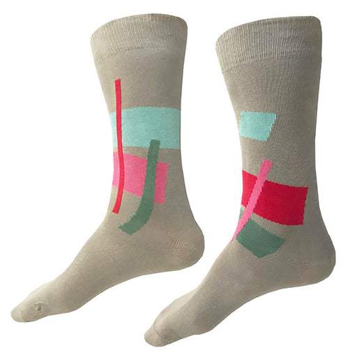 MADE IN USA men's tan cotton socks by THIS NIGHT featuring abstract art-inspired pattern in bright punch pink, bright cotton candy pink, pale aqua, and soft muted green