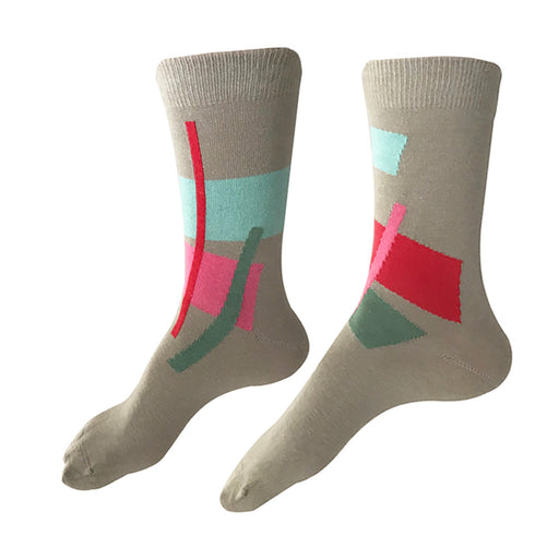 MADE IN USA beige/tan cotton socks by THIS NIGHT in Abstract geometric pattern with hot pink, pink, aqua, and soft green