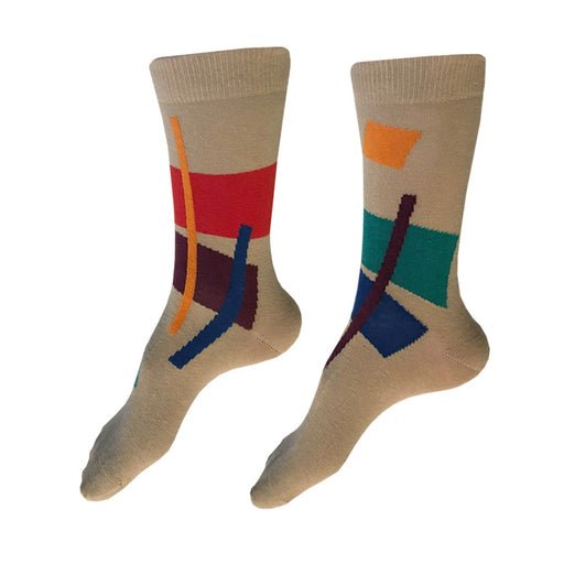 MADE IN USA tan women's cotton socks by THIS NIGHT with abstract geometric pattern with gold, red, burgundy, teal, and blue
