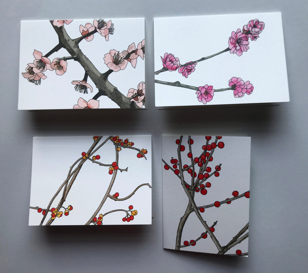 MADE IN USA Flowering Branch Botanical Note Cards by Kate T. Williamson – 2 each of plum blossoms (ume), peach blossoms (momo), bittersweet, and winterberry