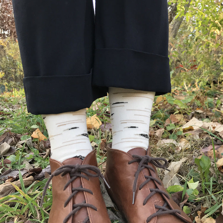 MADE IN USA women's cotton birch tree socks by THIS NIGHT