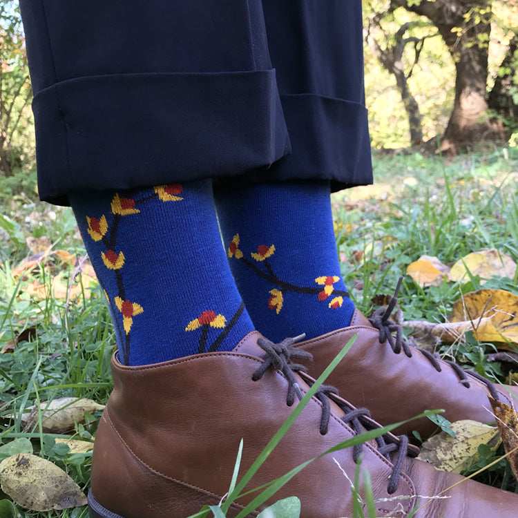 MADE IN USA women's blue cotton Bittersweet botanical socks by THSI NIGHT