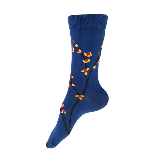 MADE IN USA blue cotton women's Bittersweet botanical sock by THIS NIGHT