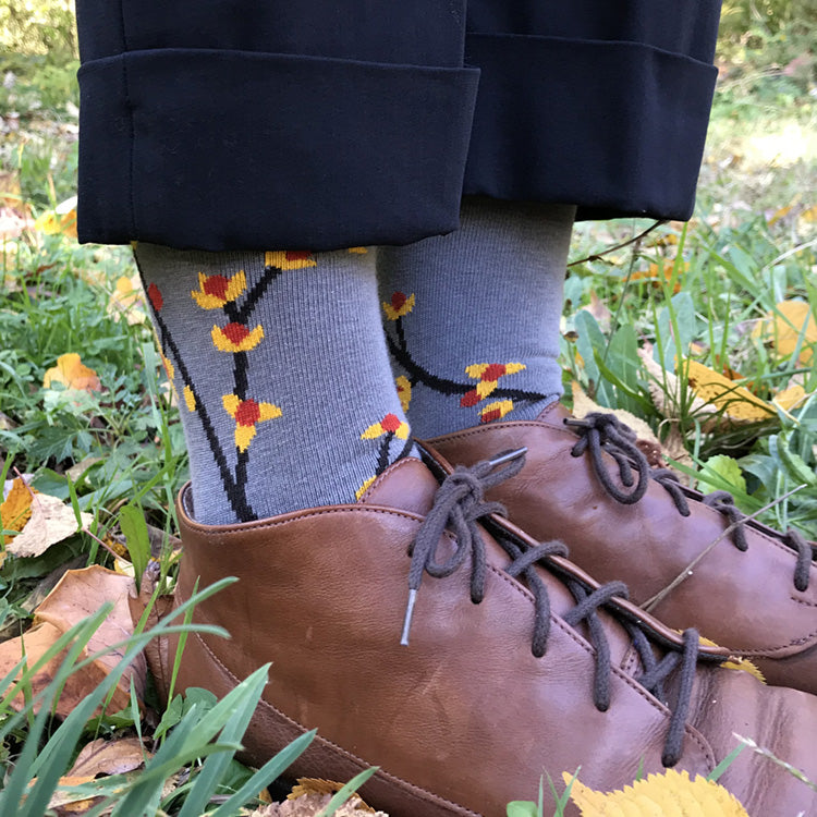MADE IN USA grey Bittersweet cotton women's botanical socks by THIS NIGHT