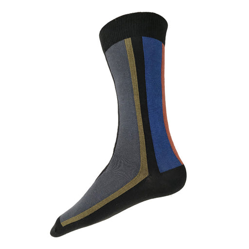 MADE IN USA men's black vertical striped cotton socks with grey, olive, blue, & rust