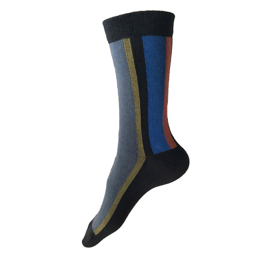 MADE IN USA women's vertical striped black cotton socks with dark grey, olive, blue, and rust by THIS NIGHT