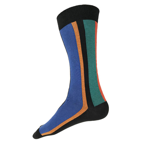 MADE IN USA black cotton men's vertical striped socks with blue, yellow-orange, teal, and bright orange-red