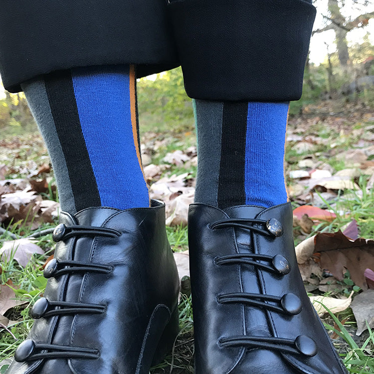 MADE IN USA women's black cotton vertical striped sock with blue, yellow, teal, and geranium by THIS NIGHT