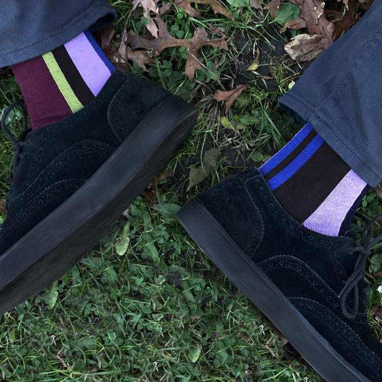 MADE IN USA men's vertical striped socks in brown, burgundy, leaf green, and lavender by THIS NIGHT