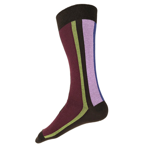 MADE IN USA men's vertical striped socks in brown, burgundy, green, and lavender by THIS NIGHT